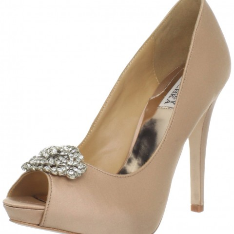Badgley Mischka Goodie Peep-Toe Pump Natural Color