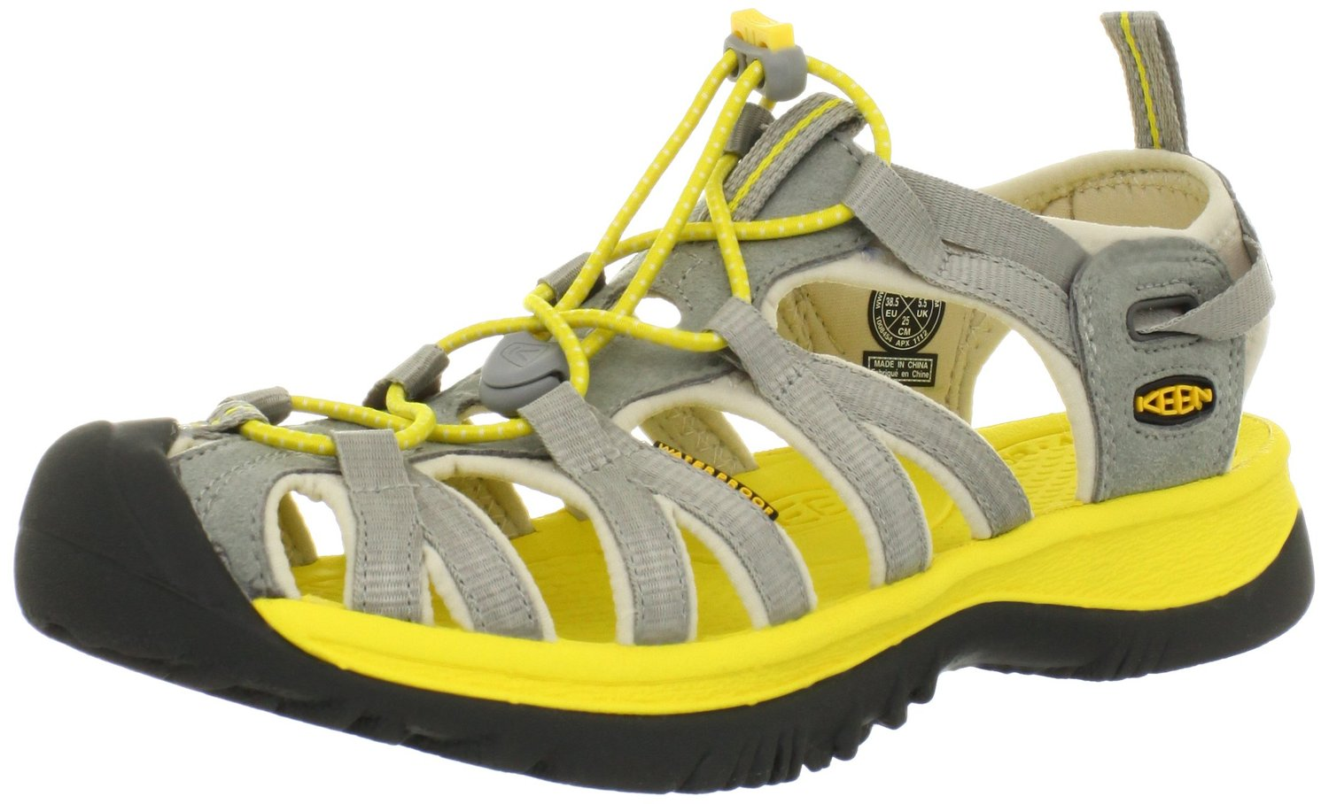 KEEN Whisper Comfort Sandal Neutral Gray Cyber Yellow Color