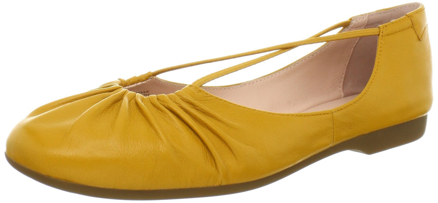 7bb2ff1617e Taryn Rose Bryan Ballet Flat Boots Burnt Yellow Color