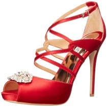 Badgley Mischka Fischer Platform High Heel Pump Red Satin Red Color