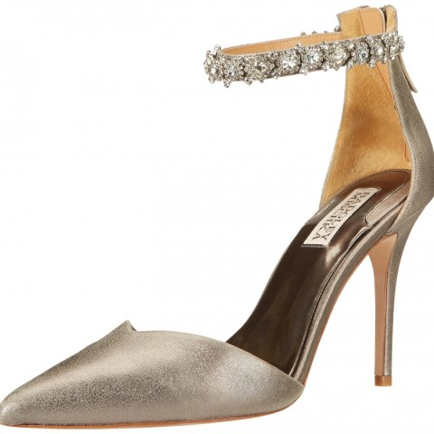 Badgley Mischka Flash II Special Occasion Dress Pump Pewter Metallic Suede Color