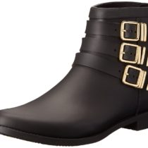 Loeffler Randall Fenton Rain Boot Black Gold Color