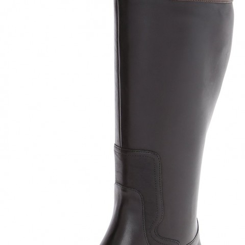 Nine West Cromie Wide Calf Knee High Riding Boot Black and Brown Color