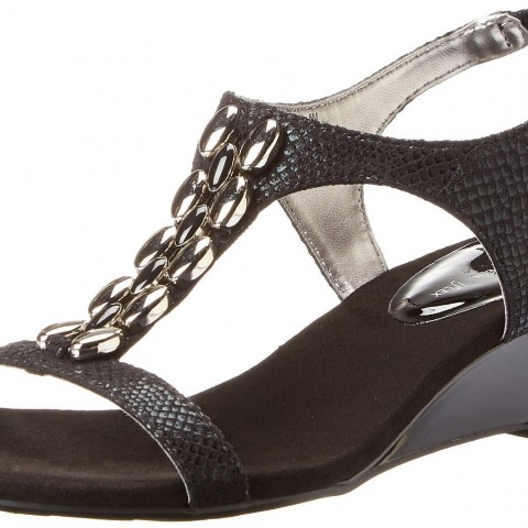AK Anne Klein Damek Fabric Wedge Sandal in Black Color
