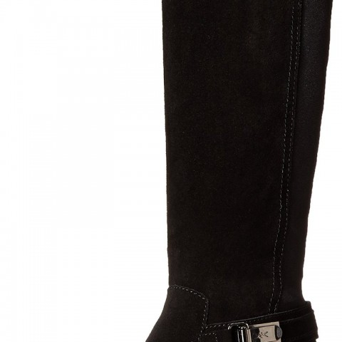 AK Anne Klein Sport Draft Suede Knee High in Black Color