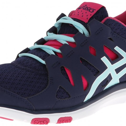 ASICS Gel Fit Sana Cross-Training Shoe in Navy Ice Blue Hot Pink Color