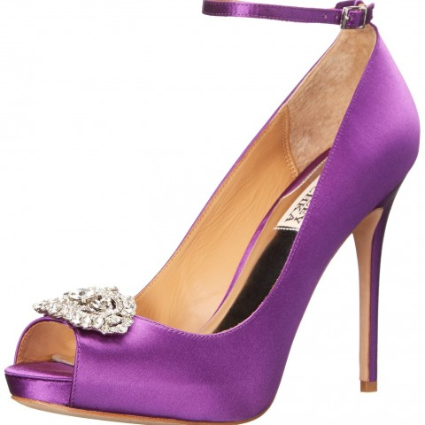 Badgley Mischka Finley Platform Pump in Orchid Satin Color