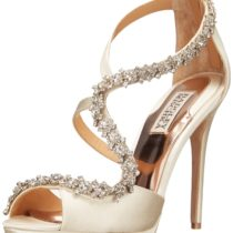 Badgley Mischka Flair II Platform Sandal in Ivory Satin Color
