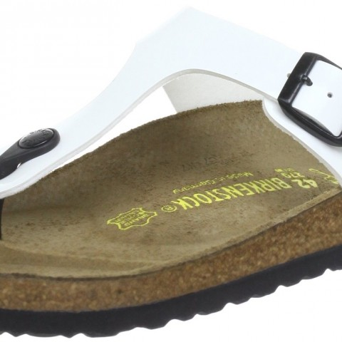 Birkenstock Gizeh Thong Sandal in White Varnish Color
