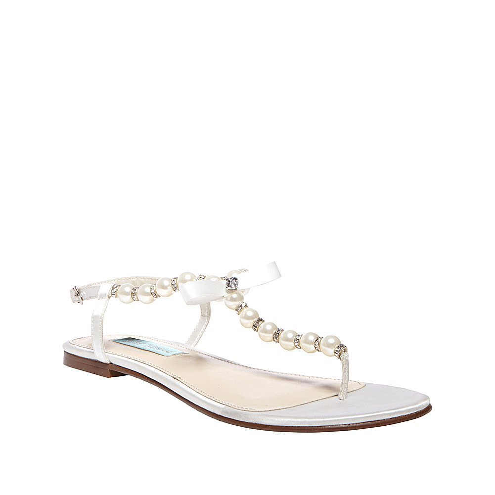 Blue by Betsey Johnson SB-Pearl Flip Flop in Ivory Satin Color