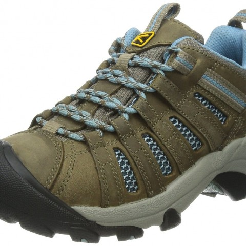 KEEN Voyageur Hiking Shoe in Dark EarthEnsign Blue Color