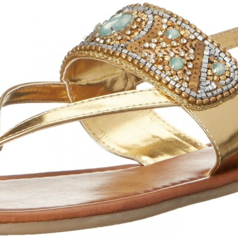 Madden Girl Raive Flip Flop in Gold and Multi Color