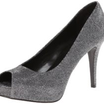 Nine West Camya Fabric Platform Pump in Pewter Multi Color