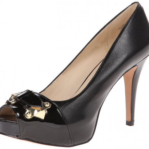 Nine West Chocolate Leather Platform Pump in Black Color