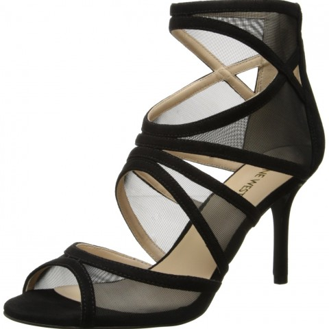 Nine West Gezzica Fabric Dress Sandal in Black Color