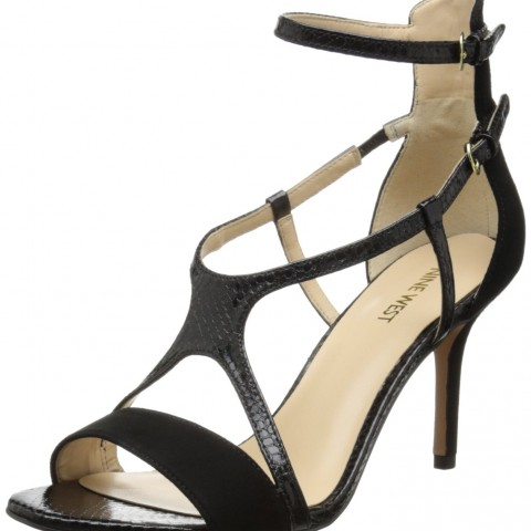 Nine West Guppy Suede Dress Sandal in Black and Black Multi Color