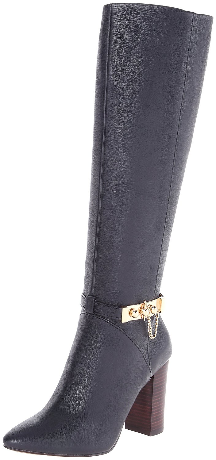 What Is Leather Made Of >> Nine West Hughes Harness Leather Knee High Heel Boot