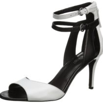 Nine West Itsie Dress Sandal in Dark WhiteBlack Leather Color