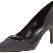 Nine West Kimery Fabric Dress Pump in Dark Grey and Black Color
