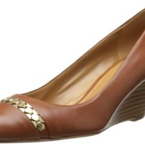 Nine West Matrex Leather Wedge Pump in Dark Natural Color