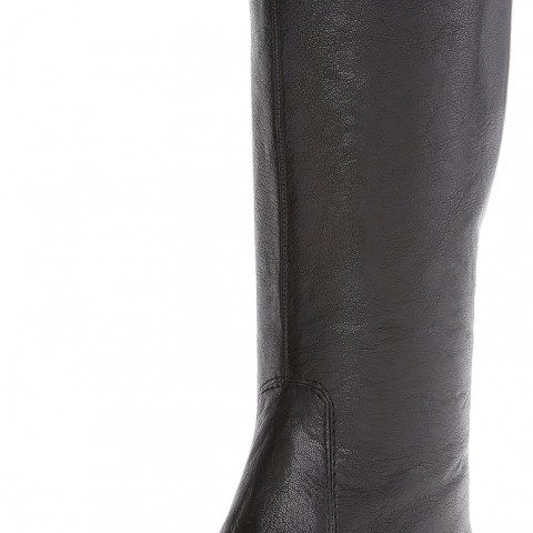 Nine West Myrtle Leather Riding Boot in Black Color