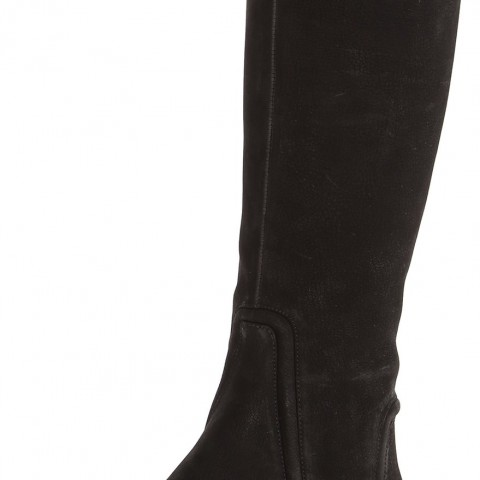 Nine West Sillygoose Nubuck Riding Boot in Black Color