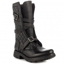 Steve Madden Bounti Combat Boot in Black Leather Color