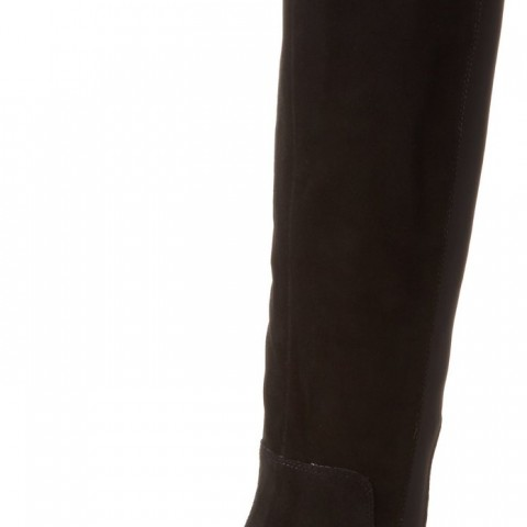 AK Anne Klein Citygurl Suede Riding Boot in Black Color