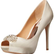 Badgley Mischka Finn Platform Pump in Ivory Satin Color