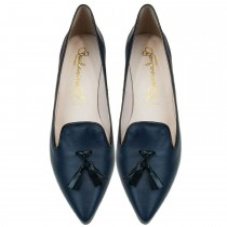 Bailarinas SUSAN AZU Navy Blue Classic Kitten Heel Pump in Navy Blue Color