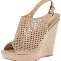 Chinese Laundry Meet Up Micro Suede Wedge Sandal in Sand Color