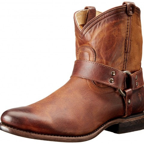 FRYE Wyatt Harness Short Western Boot in Cognac Brown