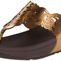 FitFlop Flora Metallic Flip Flop in Super Bronze Color