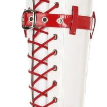 Funtasma by Pleaser Medic Knee-High Boot in White Red Patent Color