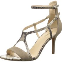 Nine West Guppy Suede Dress Sandal in Taupe Natural Multi