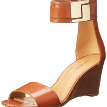 Nine West Nicetime Leather Wedge Sandal in Dark Natural Color