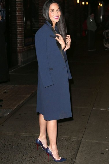Olivia Munn in Paul Andrew Pumps Late Show With David Letterman in New York City