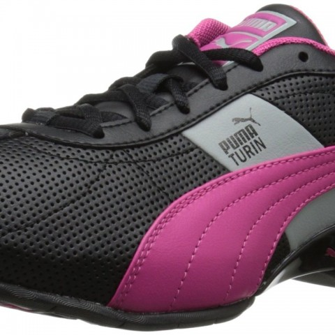 PUMA Cell Turin Running Shoe in Black Fuchsia Purple Limestone Gray