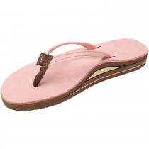 Rainbow Sandals Premier Leather Double Stack Narrow Strap, Pink, Size 10 (11.25) in Pink Color