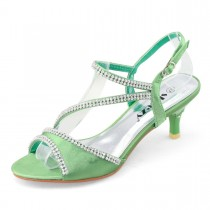 SHOEZY Ladies Satin Kitten Heels Dress Shoes Ankle Strap Xmas Party in Green Color