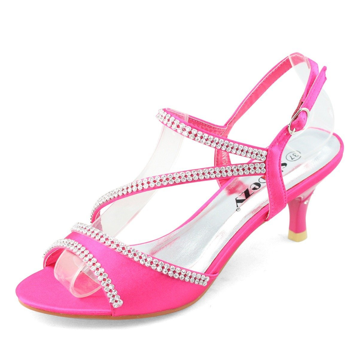 SHOEZY Ladies Satin Kitten Heels Dress Shoes Ankle Strap Xmas ...