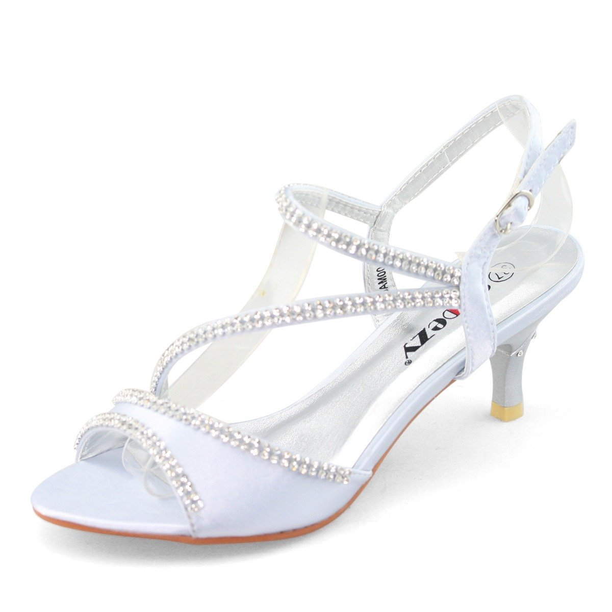 fd3735b31ce SHOEZY Ladies Satin Kitten Heels Dress Shoes Ankle Strap Xmas Party in  Silver Color