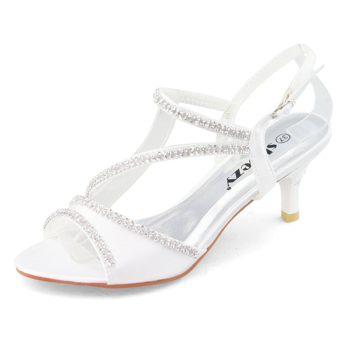 73cfae7632d SHOEZY Ladies Satin Kitten Heels Dress Shoes Ankle Strap Xmas Party in  White Color