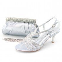 SHOEZY Trend Dress Jewels Mid Heel Shoes Matching Ruched Satin Bag Clutch in Silver Color