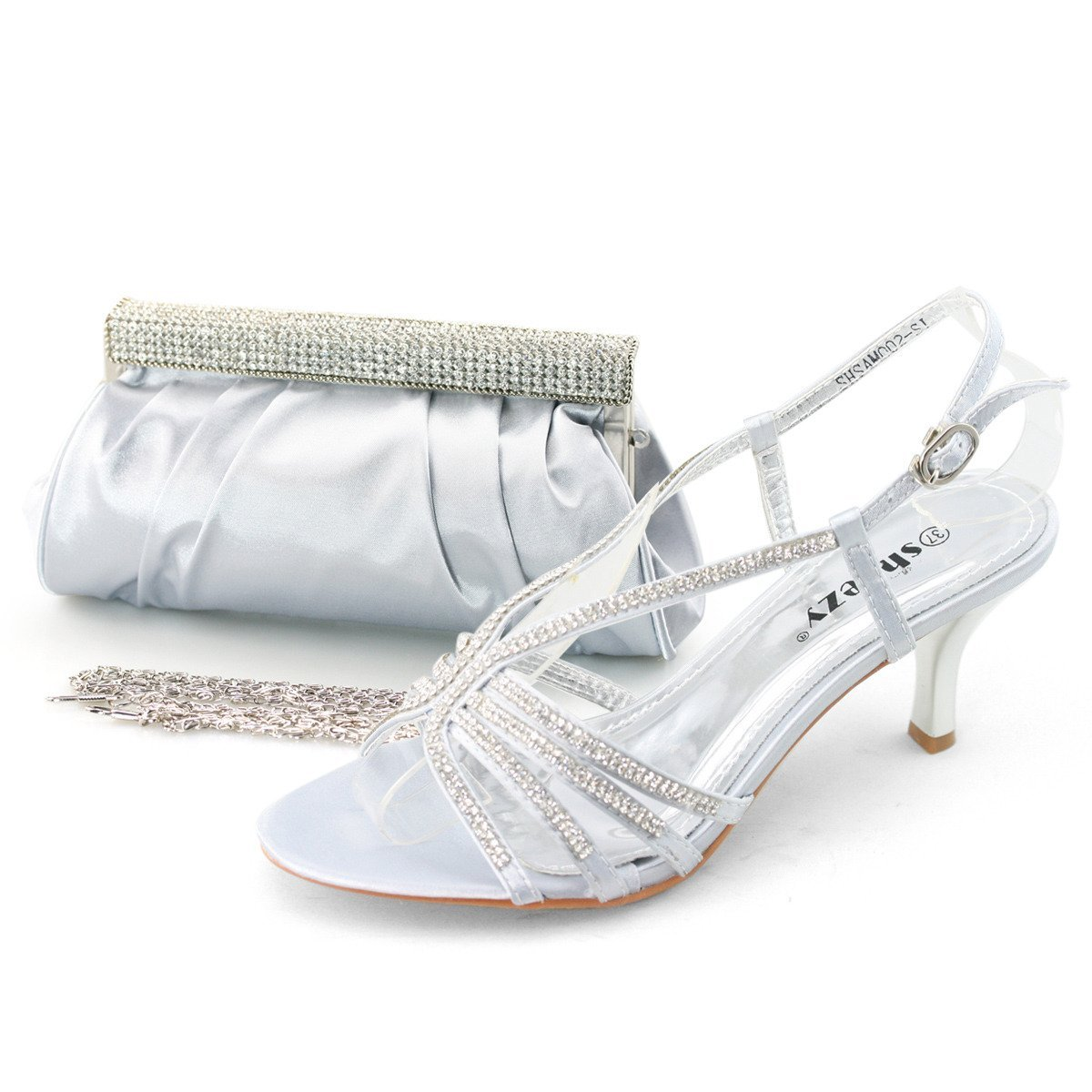 SHOEZY Trend Dress Jewels Mid Heel Shoes Matching Ruched ...
