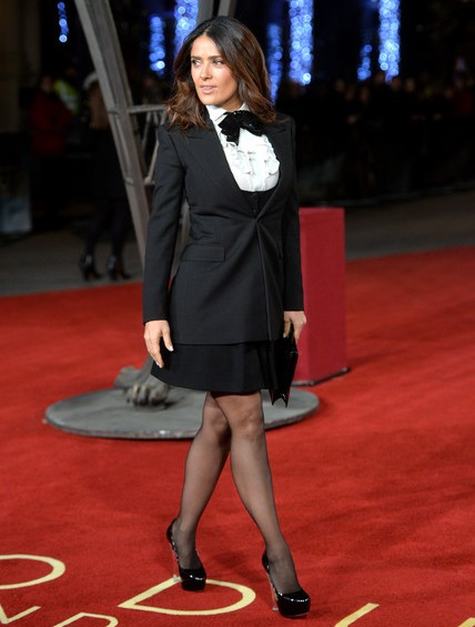 Salma Hayek in Platform Pumps at Premiere of Exodus Gods and Kings in London