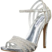 Steve Madden Cagged Dress Sandal in Silver Multi Color