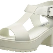 Steve Madden Stefano Platform Sandal in White Leather Leather