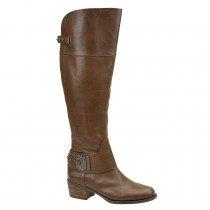 Vince Camuto Beatrix Harness Boot in Medium Brown Leather Color