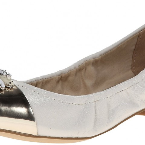AK Anne Klein Pebble Leather Ballet Flat White
